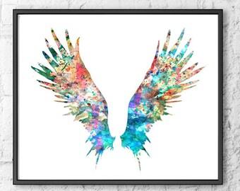 Angel Wings Art Print, Watercolor Painting, Feather Art, Print Illustration, Wall Art Printable, Wall Art Print - 106