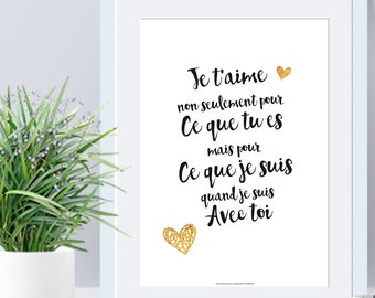 A4 - Paper Poster - I love you not only for ... - love, quote, black and white, valentine's day, statement, couple - B