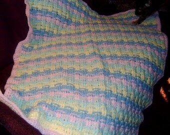 Basketweave Baby Afghan, Baby Shower gift