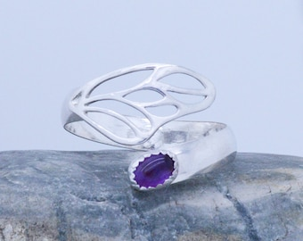 Sterling Silver Butterfly Wing Adjustable Spoon Ring (any Size) choose your gemstone - shown with purple Amethyst