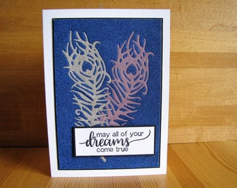 Glittered Feather Card