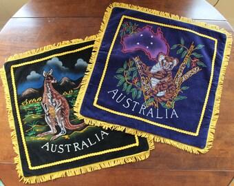 Pair of 1940s Austrailian Kangaroo and Koala Fringed Souvenir Velvet Pillowcases