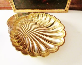 International Brass Giftware Large Brass Shell Serving Dish, Hollywood Regency Tray, Entertaining Gold Dish, Palm Beach Decor