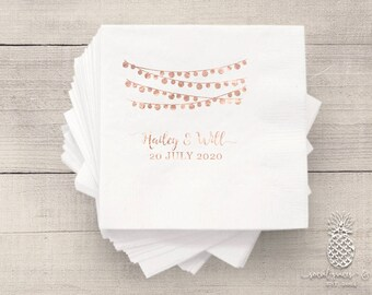 String of Lights | Customizable Cocktail Wedding Napkins | social graces and Co