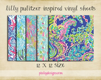 12x12 Lilly Pulitzer Inspired Vinyl Sheets | High Quality Indoor/Outdoor Adhesive Vinyl | Large Print or Tiled | Printed Vinyl