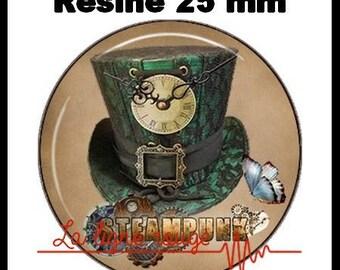 Cabochon rund um Harz 25 mm - Hut Steampunk grün (880) - Gotik, Mode, Mode einfügen