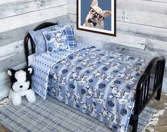 18 Inch Doll Bedding Set for American Girl Dolls.  Comforter and Three Pillows.  Blue French Bulldog Print.
