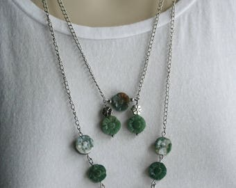 Moss Agate Necklace (418n): Flower Necklace, Nature Necklace, Moss Agate Multi Strand Necklace, Long Green Agate Necklace, Warrior Necklace