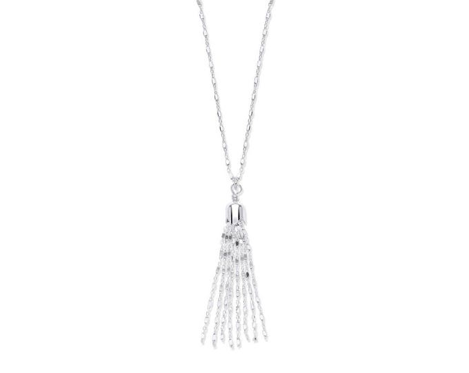 """Sterling Silver Diamond Cut Belcher & Box Link Chain With Tassel 17"""" Necklace"""