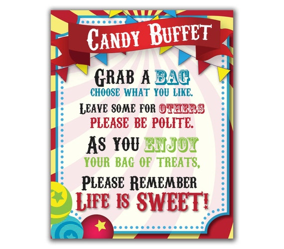 Circus Candy Buffet Sign Carnival Party Sweets Table Sign