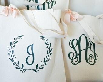 Wreath Tote Bag - Bridesmaid Tote Bag - Bridesmaid Canvas Bag - Gift for Bridesmaid - Custom Initial Bag - Spring Wedding - Personalized Bag