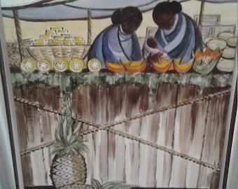 Vintage Oil on Canvas/ Signed Robert Wait/ Women/ Baby/ Market/ Fruits/Basket