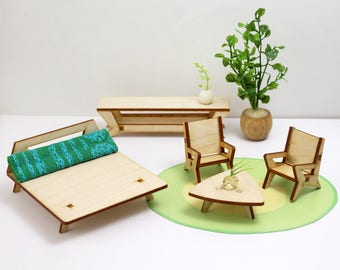 The BUTTERFLY Furniture Set in 1:24 scale - Baltic Birch Plywood