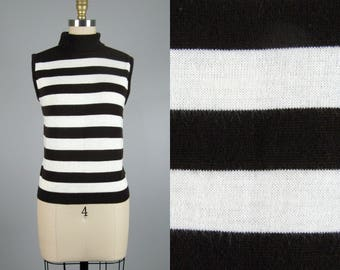 Vintage 1960s Knit Top 60s Brown and White Striped Acrylic Knit Sleeveless Turtleneck by Bobbie Brooks Size M