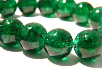 10 12mm translucent - Green - 8 PE262 Crackle glass beads
