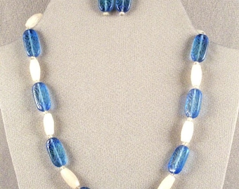 Blue and White Necklace Set // Blue Engraved Beads // Milky White Beads // 20 Inches Long // Blue Earrings // Mothers Day Gift