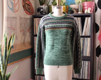 1970s spacedye sweater . green space dye sweater, pullover . youth size / womens  xxs xs small
