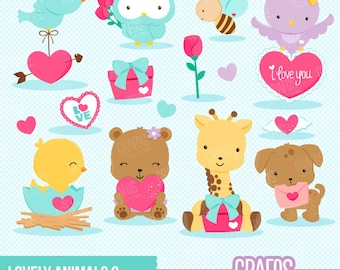 LOVELY ANIMALS 2 - Digital Clipart Set, Bear Clipart, Valentine Clipart, Bird Clipart, Owls Clipart.