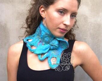 Turquoise felt neckwarmer, Felt scarf, Blue scarf, merino scarf, Fairy, Boho style, boho fashion, boho chic, Fringes, Fiber art, feminine