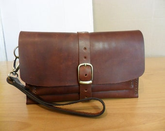 SALE Brown leather clutch, Handkerchief, leather clutch purse, small leather purse, clutch purse, clutch bag, brown leather bag, simple bag