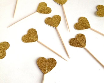 24 Gold Glitter Heart Cupcake Toppers - Food Picks - Party Picks