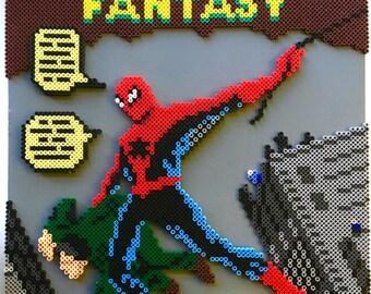 3D Amazing Fantasy Spider-Man Perler Bead Pixel Pop Art