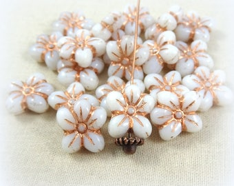 Puffed Daisy Beads, Czech Beads, 5 Petal Rustic Flower Bead, Opaque White with Metallic Copper Patina (FL/02010) - 14x13mm - Qty. 8