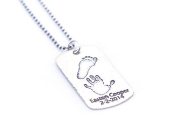 Baby Footprint Necklace | Dog Tag Handprint Necklace | Your Childs ACTUAL Prints Necklace | Gifts for Her | Gifts for Him | Ships in ONE Day