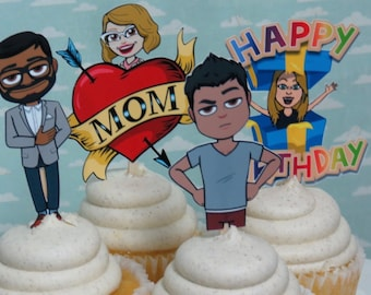 BITMOJI Cupcake toppers finished and mailed to you With your Bitmoji BIRTHDAY
