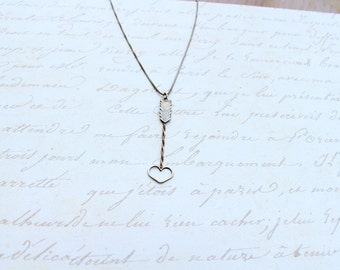 Arrow necklace, Sterling silver and copper arrow necklace