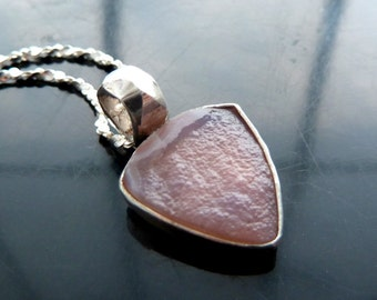 Druzy pink chalcedony natural undyed trillion in sterling silver pendant necklace mount airy nevada OOAK jewelry