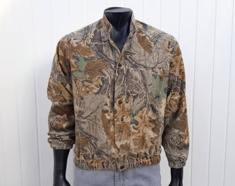 Vintage Camouflage Jacket Liberty Camo Real Tree Bomber Lightweight Coat Button Down Medium