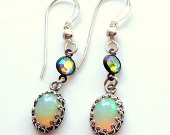 Striking, Natural Welo Opal, Sterling Silver Earring Settings,Color Play Opals, Vintage Swarovski Ctystal, Fine Jewellry, Hand Crafted, OOAK