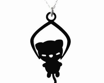 Toy Grabber Kitty Necklace - Black