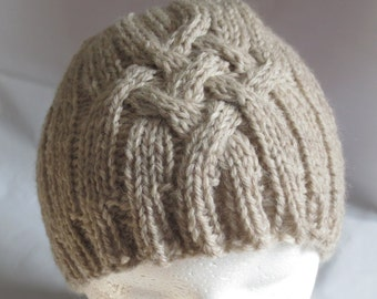 Cabled Hat for Teens & Small Adults, Tan Wool Hat, Cabled Beanie, Winter Beanie, Wool Toque