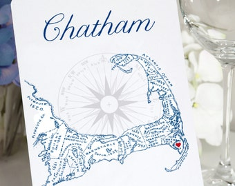 Printed Cape Cod Table Numbers, Cape Cod Map Table Cards, Cape Cod Town Table Signs, 25 Towns available, Price is for one card