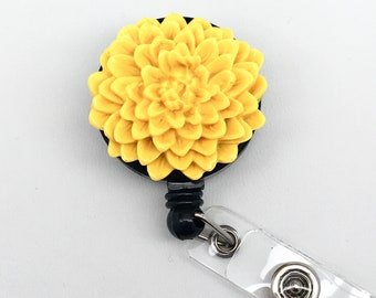 Handmade Yellow Resin Chrysanthemum Cabochon Alligator Swivel Clip Retractable ID Badge Reel / Name Badges / ID Badge Holder Great Gift