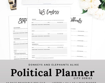 Political Planner Printable Election Worksheet Pages | PPOL-1200-A, Instant Download
