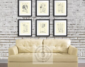 Vintage Drums Patent Art Prints Cream Wall Art set of 6 patent art prints, Gift for Drummer, Gift for Musician, Music Studio Wall Decor