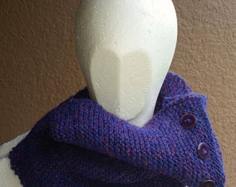 Cowl, mobius scarf, endless scarf, continuous scarf, infinity scarf, gaitor purple pink multicolored hand knit