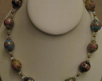 WEDDING CAKE NECKLACE Venetian Murano Glass Multi Colored Bead With Roses Necklace Wedding Cake Beaded Necklace 1930's Vintage 2 Available