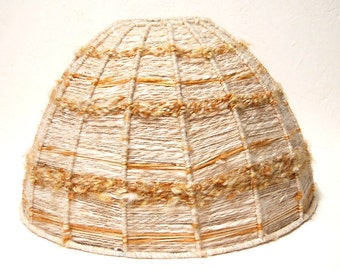 Lamp shade frame etsy 70s wool lamp shade tablehanging round covered frame beigebrown textured yarn hippiebohohipsterretrovintage decor 16 41cm diameter greentooth Gallery
