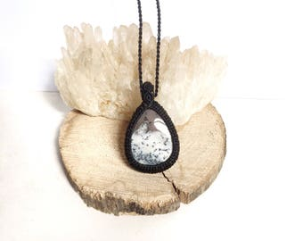 Simple Macrame pendant Dendritic Agate gemstone necklace. Crystal healing jewelry for abundance balance calming. Black and white B&W stone