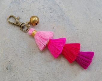 Small Ombre Pink Tassel Key Chain & Zipper Pull