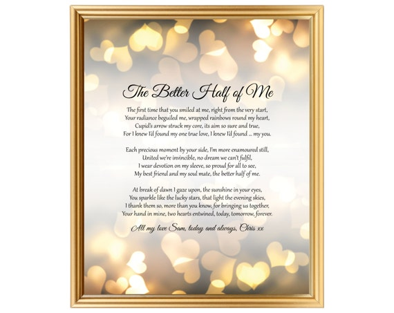 9th Wedding Anniversary Gift Ideas Her: Wedding Anniversary Gift Poem For Him Her Husband Wife Partner