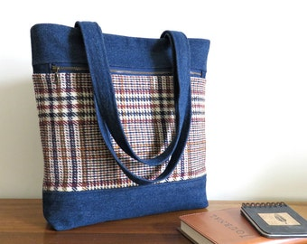 MADISON Tote in Denim and Wool, Eco Friendly, Upcycled Tote Bag