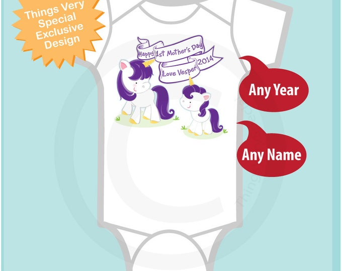 Personalized Happy First Mother's Day, 1st Mothers Day with Purple Unicorns Tee Shirt or Onesie (04072014f)