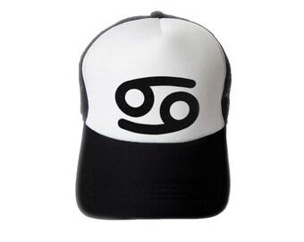 ZODIACA - Cancer Zodiac Sign Black Flock Print Trucker Hat, Mesh Caps- H1S107