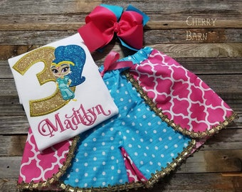 Girls Shine Birthday Shirt or Outfit with Skirt, Shorts, Capris or Pants