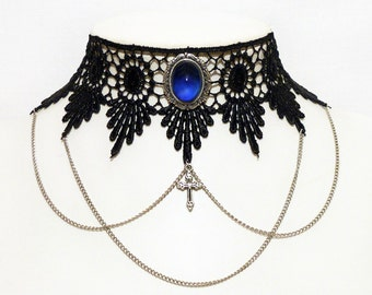 Steampunk choker gothic necklace Chains, cross and ornate Sapphire blue pendant - LUCRETIA in Sapphire blue